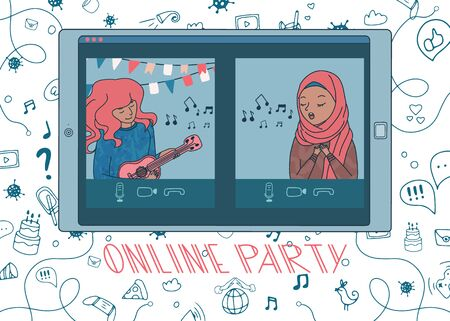 Online party with woman playing ukulele and girl in hijab singing a song. Live stream from people sit at home during covid-19 quarantine. Doodle background. Vector. Hand drawn