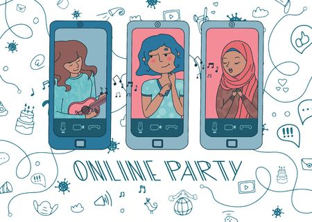 Online party with woman playing ukulele and girl in hijab singing a song for a birthday kid. Live stream from people sit at home during covid-19 quarantine. Doodle background. Vector. Hand drawn