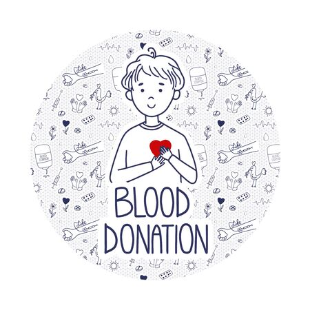 Vector Blood Donation page for donors website. Doodle concept with pattern background. Boy holds heart as a life metaphor.