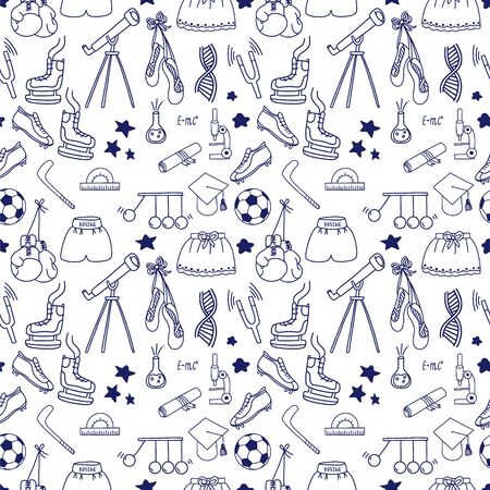 Education charity seamless pattern. Clothes and money donation concept illustration. Volunteers to support people in need. Vector.
