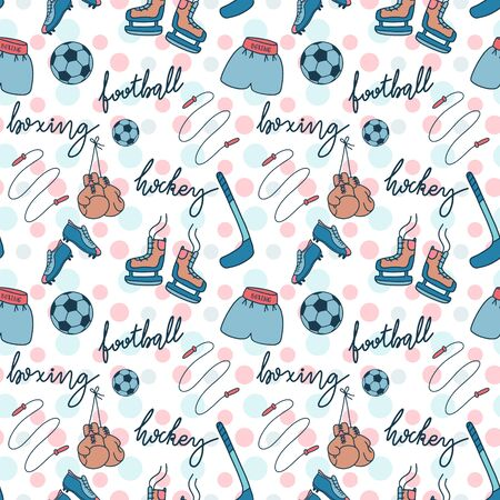 Seamless pattern with sports equipment. Healthy hobby vector illustration with boxing gloves, skates, football boots.