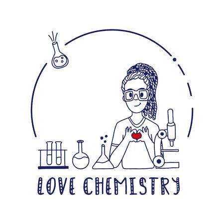Chemistry doodle with girl in eye glasses. Vector flask, beaker and microscope illustration.