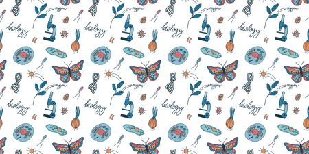 Doodle seamless pattern. Biology, biochemistry and engineering vector illustration.