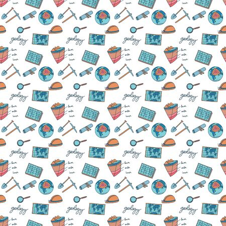 Geology seamless pattern. Cute colours illustration with Geological equipment. Vector.  イラスト・ベクター素材