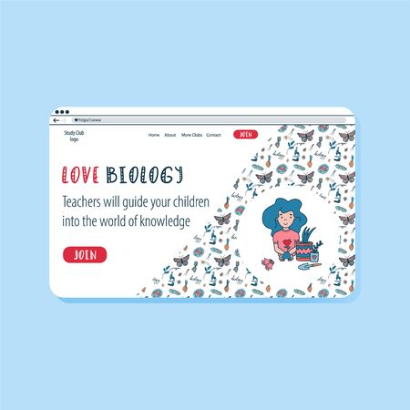 Colourful doodle vector website template for education online. Children Biology science club. Open education banner template.
