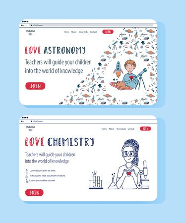 Two vector website templates for online education project. Doodle concept illustration for banner. Astrophysics and Chemistry science club for kids.