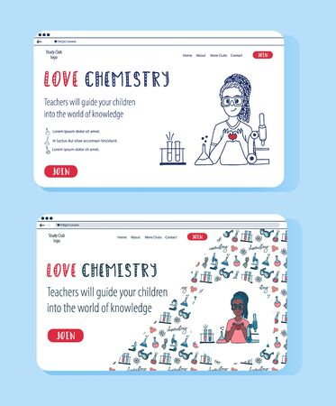 Chemistry doodle set of website templates in different designs. Education online and children clubs vector concept illustrations.