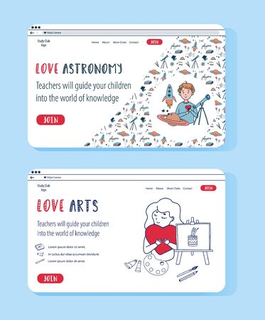 Vector doodle set of website templates for education online. Creative Arts and Astrophysics for kids science club. Children love study remotely.