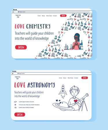 Vector website templates set for Online Education and Kids Science Clubs. Doodle concept illustration for banner. Chemistry and Astrophysics science club for kids.