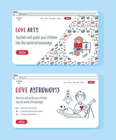 Doodle set of vector website templates for education online. Astrophysics and Creative Arts for kids science club. Studying online. Children have lessons remotely at home.