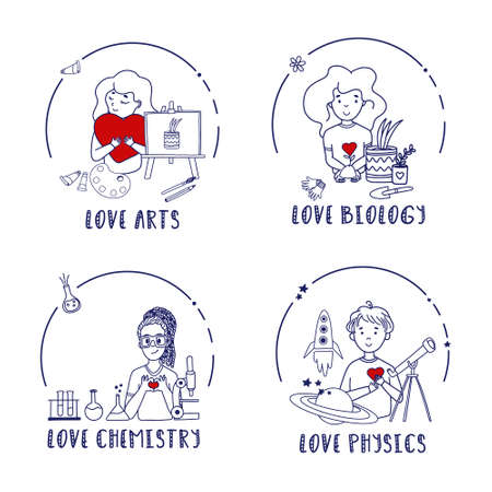 Education set with cute kids. Artist with easel and watercolour. Physicist with telescope, spaceship and planet. Biologist with plants. Scientist with flask with Chemical reaction. Vectores