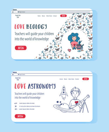 Vector website templates for Astrophysics and Biology classes. Doodle concept illustrations for online education. Kids Science Club banners.