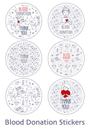 Set of vector stickers on white background for Blood Donation Day. Doodle illustration with man and woman holding red hearts. Saving lives by blood donation