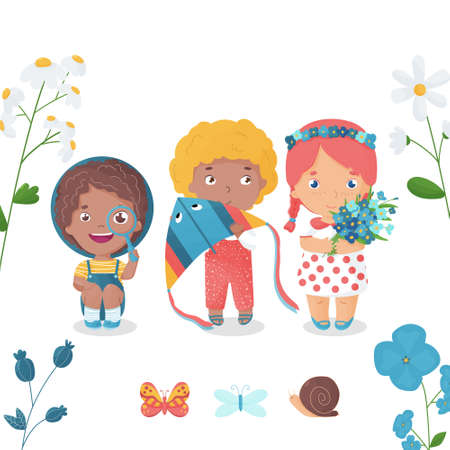 Vector illustration. Happy kids spend summertime in countryside. White background. Watching butterflies and snail through magnifying glass, running kites in the sky and picking field flowers.