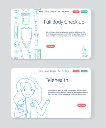 Website templates for Online consultation with doctor and Signing for health check-up. Vector concept illustration for telehealth and telemedicine. Doodle banner for internet health services. Vettoriali