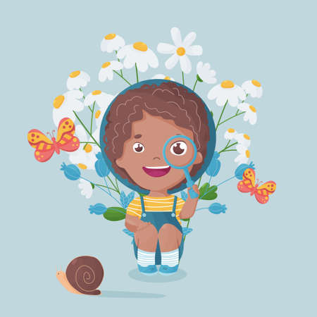 Multiracial happy boy with magnifying glass looking at butterfly and snail. Vibrant colored postcard for summer vacations and field flowers. Vector daisies and thistles bouquet.
