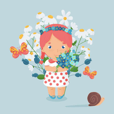 Cute happy girl with the bouquet with filed flowers. Vibrant summer postcard with forget-me-not, daisy and thistles. Vector illustration. Blue background. Ilustração