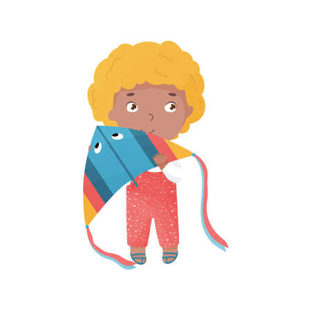 Vector blond haired happy boy with kite. Summer activities with children. Vibrant colored illustration.