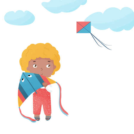 Vector isolated young joyful boy with colorful kite in arms looking at the flying kite in the skies. Summer activities illustration in cartoon style.
