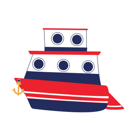 Two-tier cruise ship in vector. Marine blue and red colors. Isolated object.