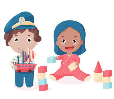 Isolated happy Afro-American toddler with bricks and Caucasian boy with toy ship with sails. Cute kids with toys playing together. Vector illustration.