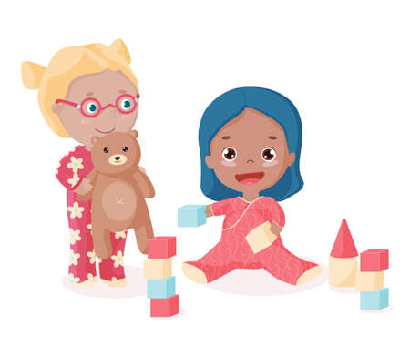Little happy toddler plays bricks and builds castle. Little girl in eyeglasses hugs her teddy bear and look after her sister. Children play together. Vector isolated objects.