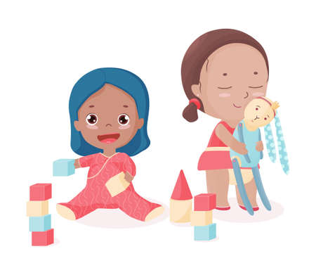 Isolated vector with best friends with toys. Laughing Afro-American toddler with bricks and Caucasian girl with stitched rabbit. Cute children play together. Illustration