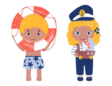 Vividly colored vector set with children play with nautical toys. Smiling girl in a captain hat with a ship. Boy hold life ring.  Illustration