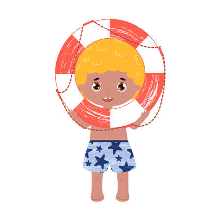 Cute happy vector boy with the lifebuoy. Isolated illustration with a blond kid with the life ring in the arms.