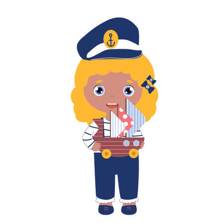 Vector happy girl in the captain cap with the toy ship. Sailor suit for kids in blue color. Blond child dreams of the marine profession.