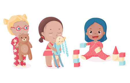 Two little girls and toddler play toys. Ilustração