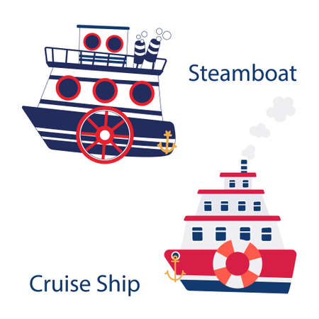 Cute set of steamboat and cruise ship made in vector.