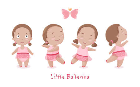 Set of adorable little girls in tutu dress. Cute ballerina dancing in ballet shoes. Isolated vector.