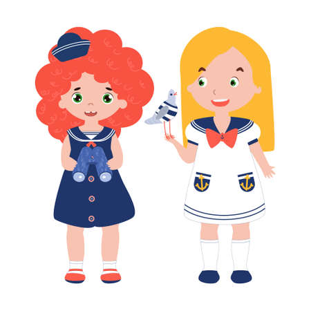 Two friends in 1950s fashioned dressed as sailors. Red haired girl with binoculars. Blond girl with seagull toy in hands. Funny cute children in marine suits.