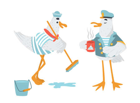 Vector funny pirate characters. Seagull in cocked hat with the sword. Sailor bird with the peg leg fighting. Isolated.