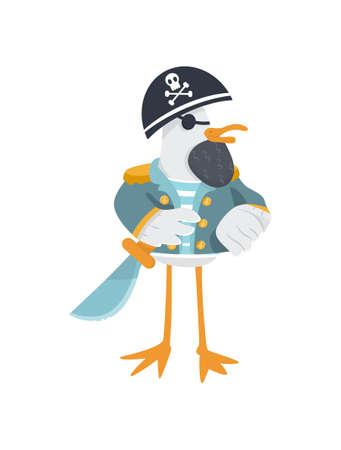 Vector eye patched pirate general with cutlass and cocked hat. Cool general seagull with beard in striped suit. Isolated character.