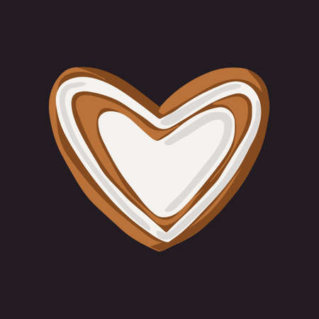 Gingerbread Christmas cookie with heart decoration. Isolated vector on black background.