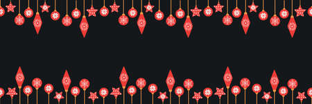 Cute seamless border with Christmas baubles. Funny simple pattern with Xmas decoration. Vector illustration. Vektorové ilustrace