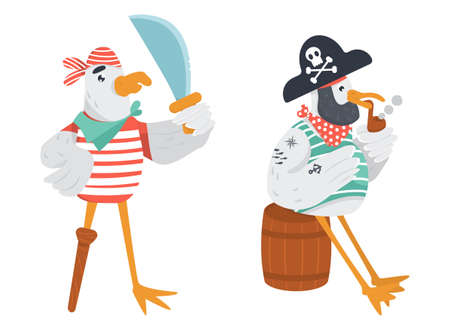 Two funny pirate seagulls in flat. Wooden peg leg sailor with cutlass and old bird pirate sitting on the wine cask smoking pipe. Illustration
