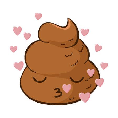 Vector cute poop emoji kiss. Kawaii funny emoticon in love. Vektorové ilustrace