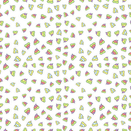 Vector funny seamless pattern with unicorn poop. Rainbow poo with repeatable elements. Illustration