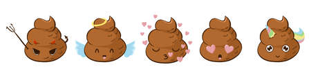 Devil, angel, in love, kissing and unicorn funny poop emoji vector set. Çizim