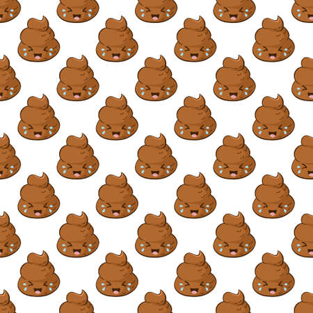 Funny laughing poop emoji in a seamless pattern. Kawaii background with a giggling poo. Çizim