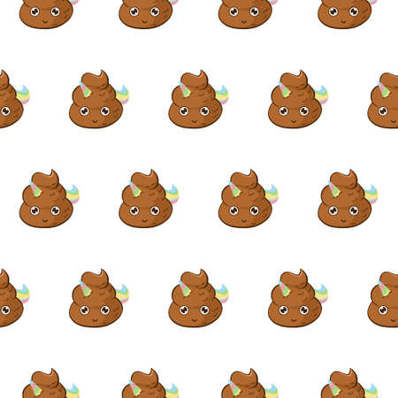 Vector background with cure unicorn poop. Funny seamless pattern with poo emoji with rainbow horn and mane.