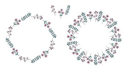 Set of cute wreaths and elements of red and pink flowers, berries and green twigs in doodle style on a white background. Vector stock illustration.