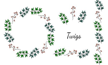 Set of two cute wreaths and elements of red flowers and green twigs in doodle style on a white background. Vector stock illustration.