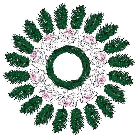 A wreath of white roses and fir branches. Ornament Music of the wind. Isolated object on a white background. Stock vector illustration.