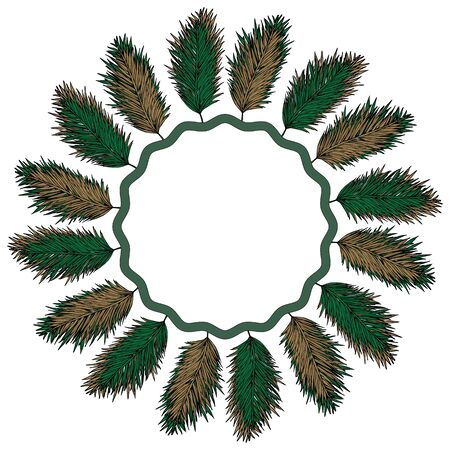 A wreath of fir branches. Ornament Music of the wind. Native American decor.Isolated object on a white background. Stock vector illustration. Reklamní fotografie - 134659730
