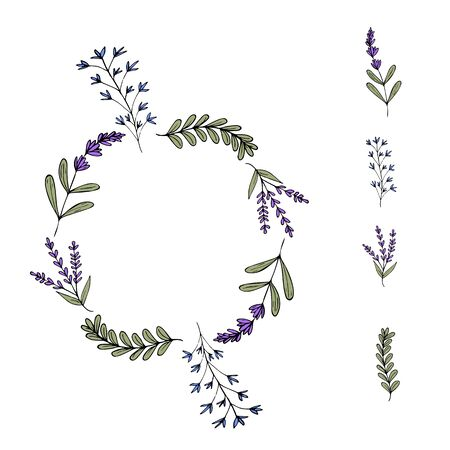 Cute Wreath of violet and blue flowers. Simple lavender and twigs in a doodle style. Elements of the wreath. Isolated objects on a white background. Vector stock illustration.