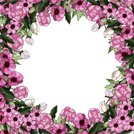 Decorative square frame of pink peonies on a white background. Realistic botany. Vector stock illustration.